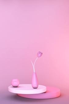 Tulipa de flores de primavera mínima 3d. maquete de cartão de convite de saudação. dia dos namorados, 8 de março cartão cópia espaço modelo