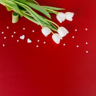 Tulipas brancas com pequenos corações