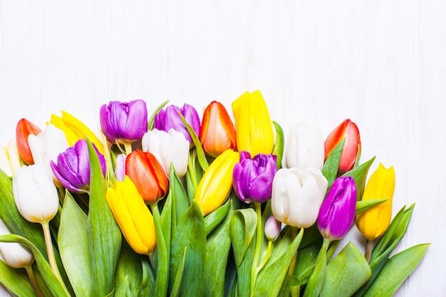 Tulipas coloridas na placa de madeira branca chique surrada. conceito de primavera com espaço de cópia