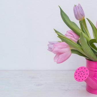 Tulipas macias em pote de água-de-rosa