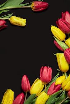 Tulipas vermelhas amarelas com gotas de orvalho em um fundo preto vista de cima para cartões postais