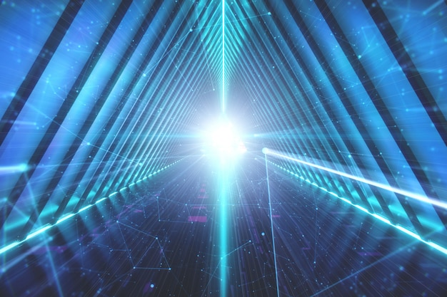 Túnel azul do fi do sci. fundo de lâmpadas de néon brilhante