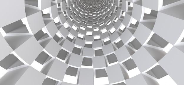 Túnel branco longo como uma superfície abstrata