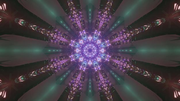 Túnel caleidoscópico com padrão de néon roxo brilhante em raios como ilustração 3d abstrata