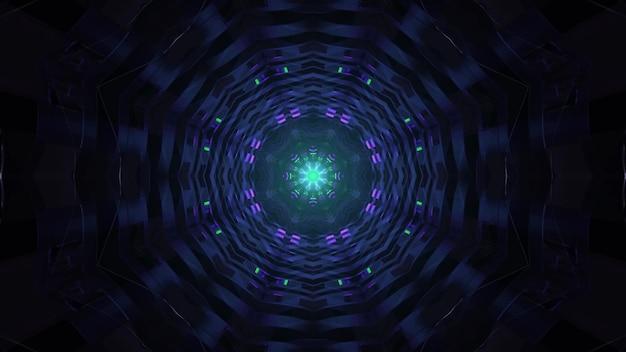 Túnel circular escuro com iluminação brilhante 4k uhd ilustração 3d