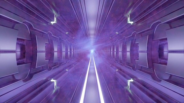 Túnel com ilustração 3d de iluminação violeta 4k uhd