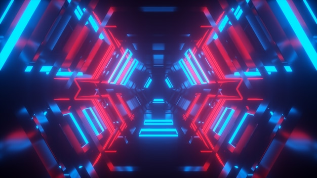 Túnel com luz de néon vermelha e azul com reflexos de renderização em 3d