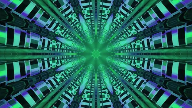 Túnel com ornamento abstrato verde ilustração 3d 4k uhd