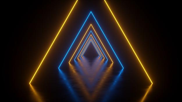 Túnel com triângulos amarelo-azulado com reflexo no chão. renderização 3d