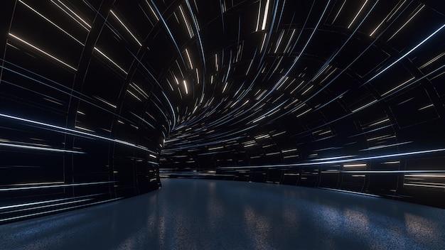 Túnel curvo com luzes brilhantes no teto