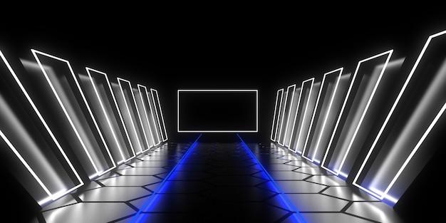 Túnel de arquitetura abstrata com luz de néon. ilustração 3d