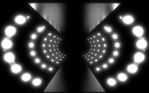 Túnel de arquitetura abstrata com luz de néon. ilustração 3da