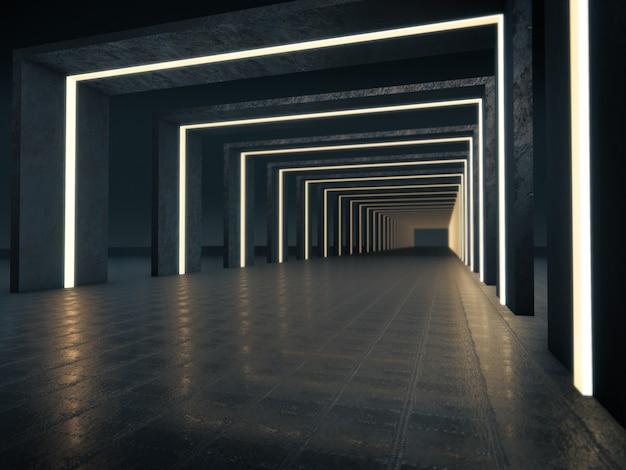 Túnel de carro de renderização 3d com brilho da luz