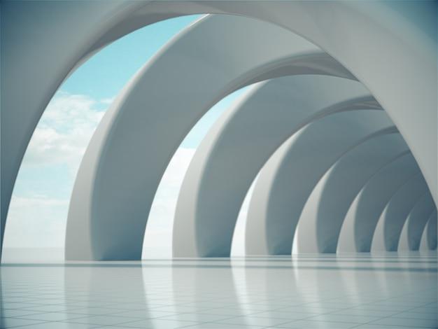 Túnel de carro de renderização 3d com céu brilhante