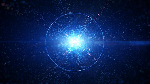 Túnel de círculo digital de cor azul do ciberespaço com partículas e iluminação