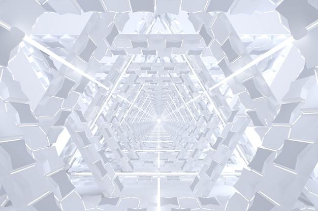 Túnel de corredor branco minimalista abstrato luzes de linha de brilho branco fundo de realidade virtual