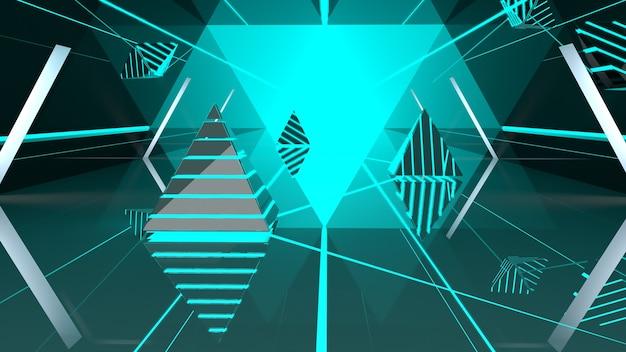 Túnel de espelho triangular com brilho azul 3d