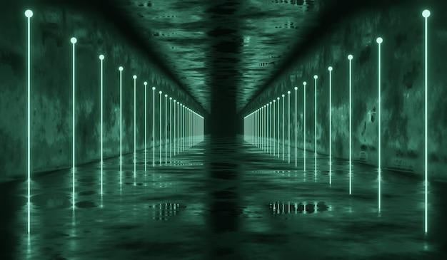 Túnel de ficção científica 3d abstrato com luz de linha verde. ilustração 3d.