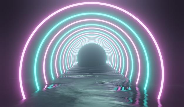 Túnel de ficção científica 3d abstrato com luz rosa e azul. ilustração 3d.