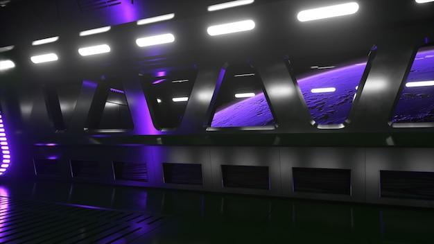 Túnel de ficção científica no espaço sideral com luz de néon. planeta marte fora da janela da nave. conceito de tecnologia espacial. ilustração 3d