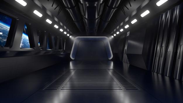 Túnel de ficção científica no espaço sideral com luz de néon. planeta terra fora da janela da nave espacial. conceito de tecnologia espacial. ilustração 3d