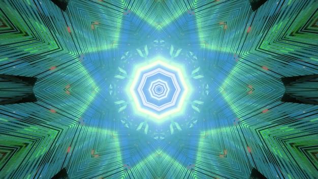 Túnel de ficção científica sem fim futurista abstrato com orifícios octogonais e iluminação de néon verde formando um ornamento em forma de estrela