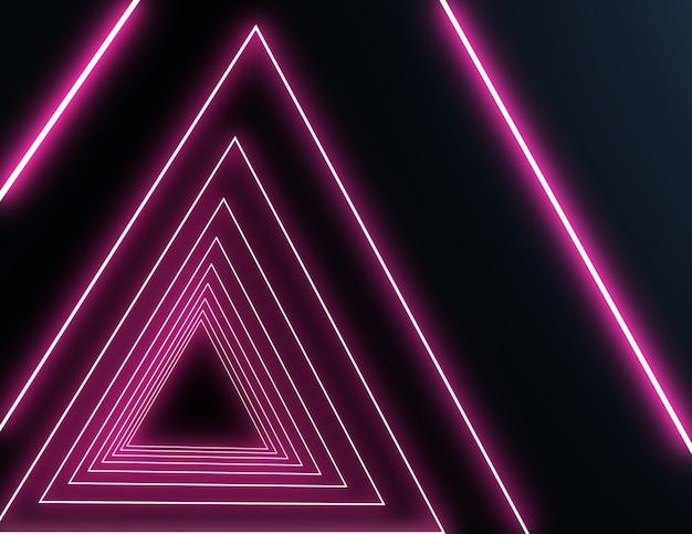 Túnel de néon 3d com luz de néon. ilustração 3d