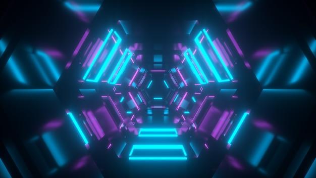 Túnel de néon abstrato com túnel de reflexos da futura renderização scifi 3d