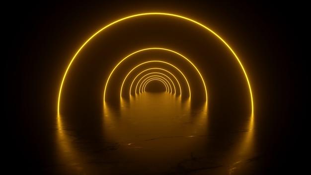 Túnel de néon em reflexos amarelos no piso 3d renderin