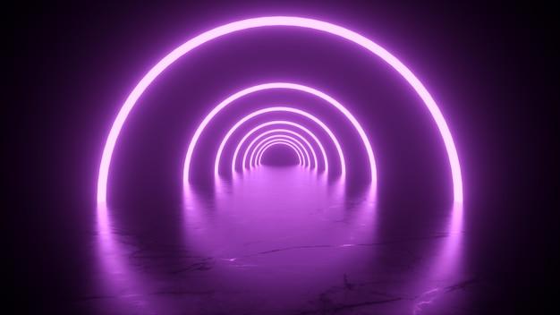 Túnel de néon em reflexos de cor rosa no chão renderização em 3d