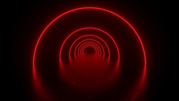 Túnel de néon em reflexos vermelhos no chão renderização em 3d