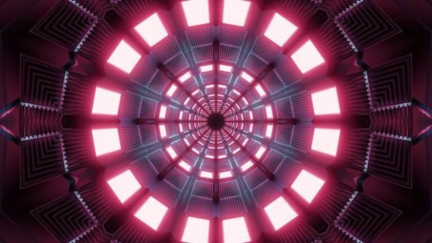 Túnel de néon vermelho 4k uhd transporte futurista ilustração 3d fundo