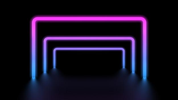 Túnel de praças de luzes brilhantes vibrantes