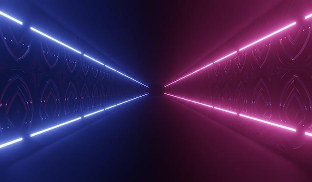 Túnel de tecnologia futurista abstrato com néon azul e rosa