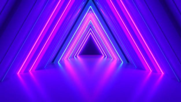Túnel de triângulo de néon abstrato tecnológico