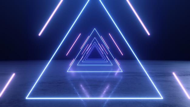 Túnel de triângulos de néon abstrata