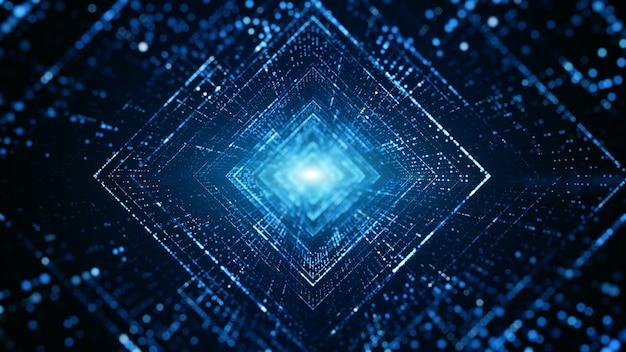 Túnel digital do ciberespaço com partículas e iluminação