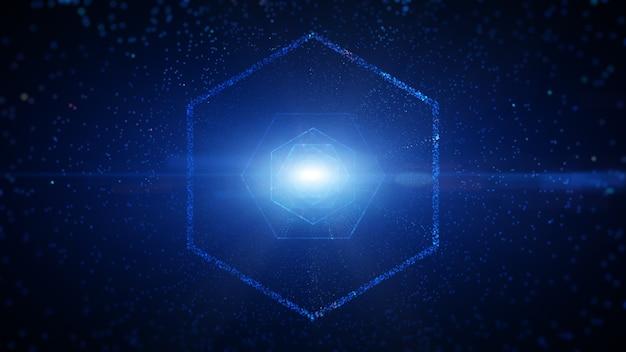 Túnel digital hexagonal do ciberespaço com partículas e iluminação