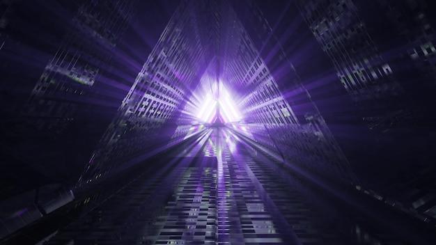 Túnel do triângulo escuro com ilustração 3d de raios violetas 4k uhd