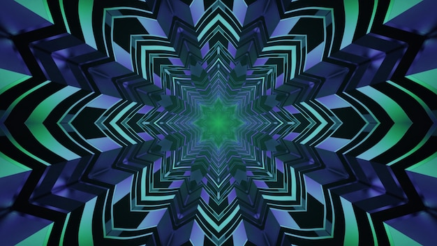 Túnel em forma de estrela com iluminação de néon 4k uhd ilustração 3d