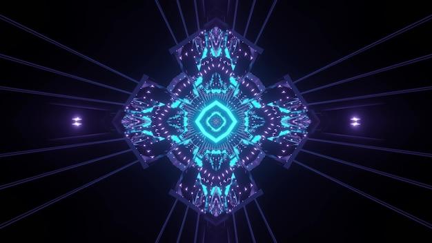 Túnel escuro de ficção científica com fundo visual abstrato com iluminação de néon azul em forma de cruz e reflexos de luz