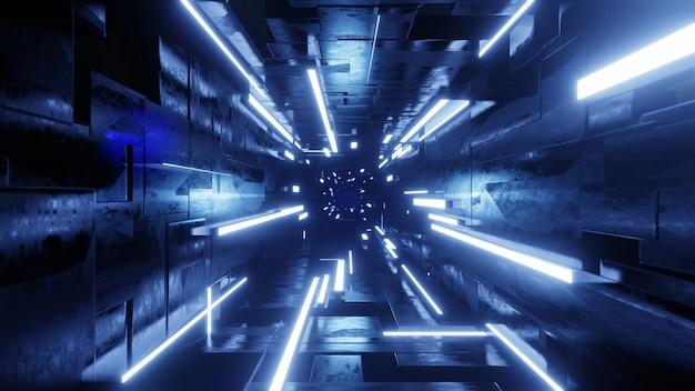 Túnel escuro futurista com luz de néon. ilustração 3d render.