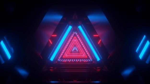 Túnel espacial em luz azul vermelha com reflexo
