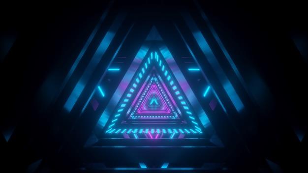 Túnel espacial na cor azul-rosa com reflexo