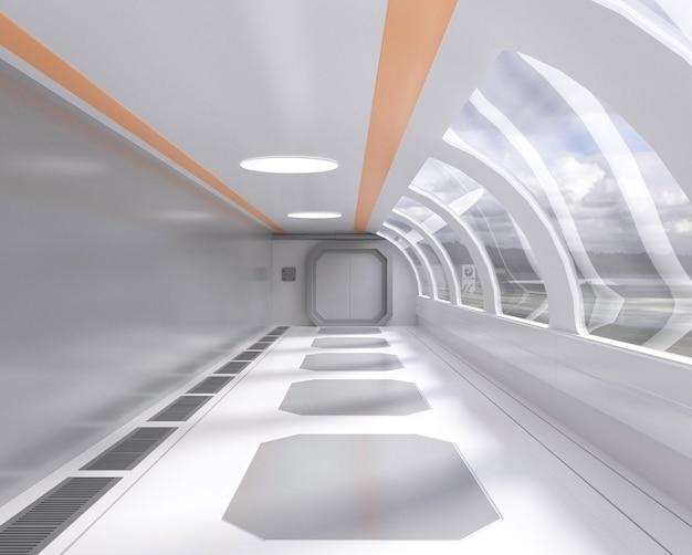 Túnel futurista brilhante de renderização 3d com janela e vista exterior, corredor, nave espacial