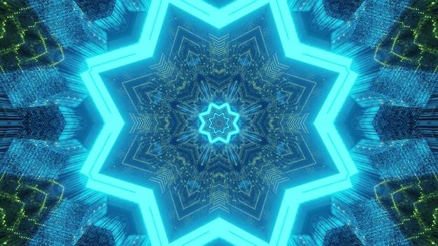 Túnel futurista com fundo geométrico abstrato com buracos em forma de estrela e caleidoscópico em luzes de néon azuis e verdes brilhantes