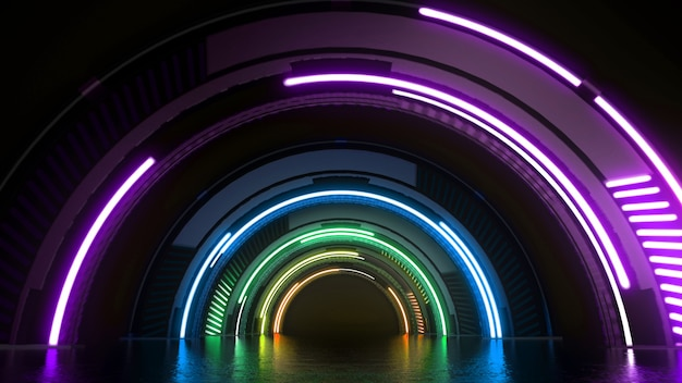 Túnel futurista de tecnologia virtual com fundo abstrato de luzes coloridas