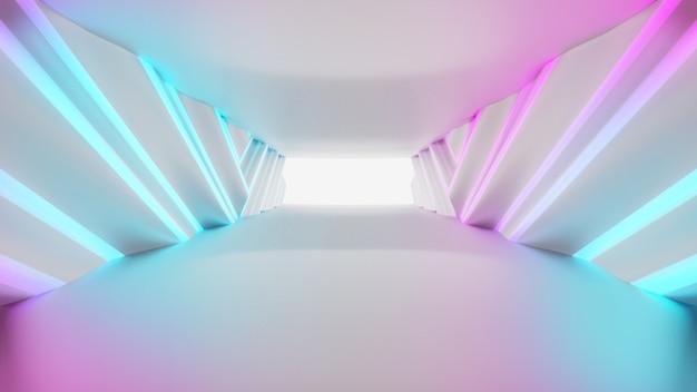 Túnel futurista vazio. design de interiores de corredores iluminados, luzes brilhantes de néon, ilustração em 3d