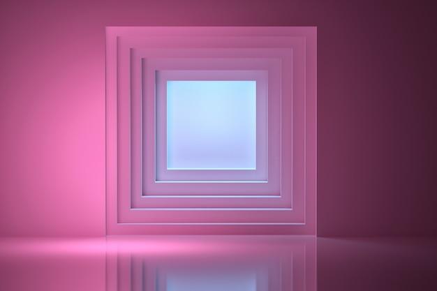 Túnel iluminado por luz azul