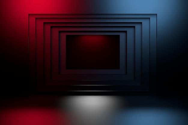 Túnel quadrado geométrico azul e vermelho escuro na parede.